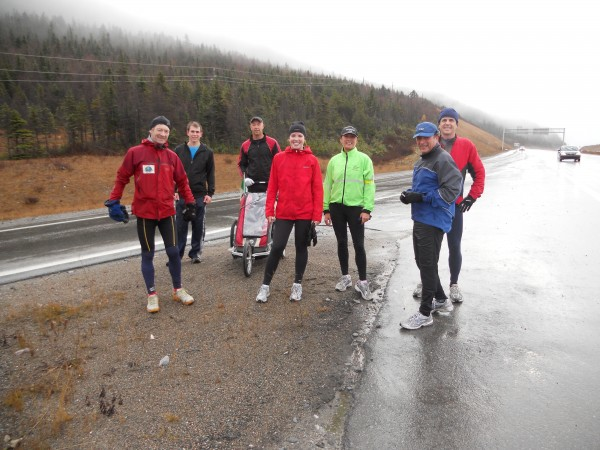 I say goodbye to the Corner Brook runners and run on another 32km on my own. Katheryn is in the center in red.
